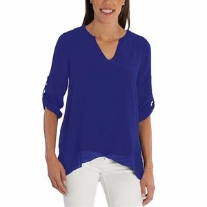 Fever Women's Roll Tab Lightweight V Neck Blouse